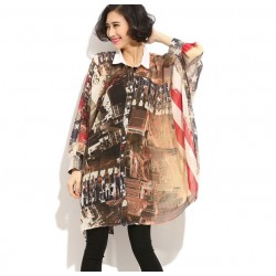 American Flag Printed Long Bat-sleeved  Chiffon Blouse