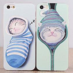 Cute Cat Animal Silicone Iphone 4s/5c/5s/6 Cases