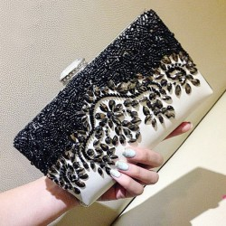Charming Noble Black Beaded Rhinestone Clutch Bag Diamond Buckle Prom Evening Handbag