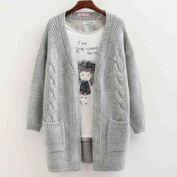 Women Long Sleeve Knitted Cardigan Loose Sweater Outwear Coat Sweater
