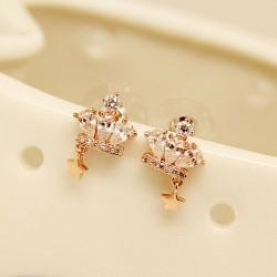 Diamond Crown Star Pendant Silver Needle Sweet Cute Earrings