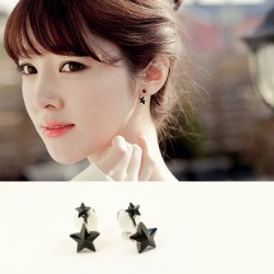 Cute Black Plexiglass Star 925 Silver Needle Earrings
