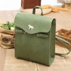Fresh Green Horse Button PU School Bag College Backpack
