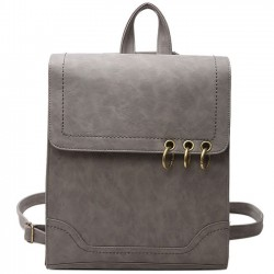 Retro Square Frosted PU Flap Backpack Metal Circular Rings Multifunctional Shoulder Bag Backpack