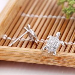 Tortoise Diamond Turtle Sterling Silver Animals Cute Earrings