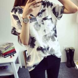 Leisure Ink Printing Loose V-neck Short-sleeved Linen T-shirt