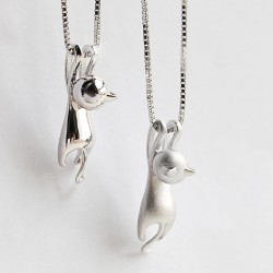 Naughty Sterling Silver Kitten Swinging Pendant Cute Animals Necklace