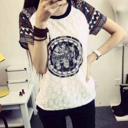 Original Folk Geometric Elephant Pattern Lace Short Splice Sleeves T-shirt
