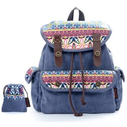 Folk Fresh Floral Pattern Drawstring Double Hasp School Travel Backpack Rucksack