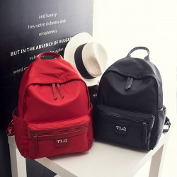 Simple Oxford School Red Backpack Pure Color Student Bag