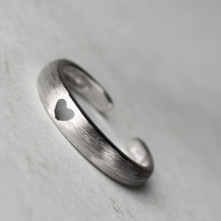Cute Hollow Heart Opening Rings Silver Tail Rings