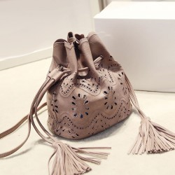 Vintage Solid Hollow Flower Tassel Bucket Bag Shoulder Bag Messenger Bag