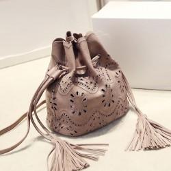 Vintage Solid Hollow Flower Tassel Bucket Bag Shoulder Bag Messenger Bag