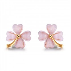 Unique Wild Four Leaf Grass Fashion Trend Women Flower Earring Studs