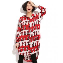 Cartoon Style Irregular Cardigan Chiffon Dress