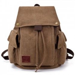 Retro Canvas School Rucksack Leisure Brown Khaki Student Outdoor Backpack