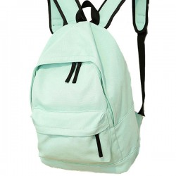 Simple Pure Color Solid Student Rucksack School Bag For Girl Canvas Backpacks