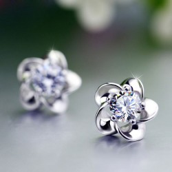 Flower Plum Blossom Sterling Silver Diamond Elegant Earrings