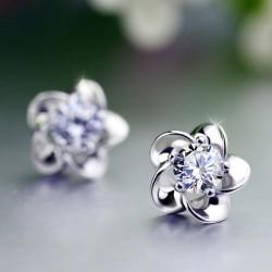 Flower Plum Blossom Sterling Silver Diamond Elegant Earrings