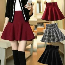 Spring New Fashion High Waist Knitting Wool Pleated Skirt