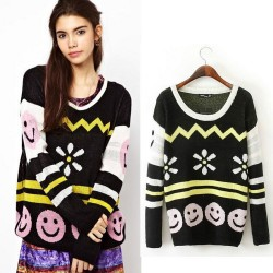 Smile Face Long Sleeve Loose Slim Sweater