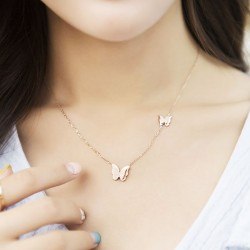 Cute Rose Gold Doublue Butterfly Pendant Animal Necklace