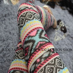 Fashion Girl's Bohemian style Patterns Printing Mesh Thin Sun Block Ninth Leggings