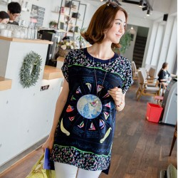 Fashion Cute Sailboat Pattern Round Neck Short Sleeve Loose T-shirt