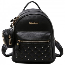 Fashion PU Girl's Black White Small Bag Snap Rivets Mesh Lingge Mini Backpack