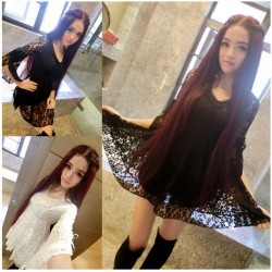 New Ladies Fashion Slim V-neck Bow Sexy Lace Dress