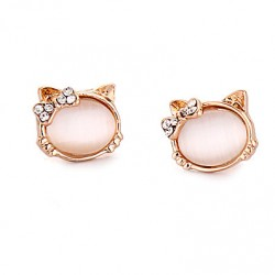 Animals Earrings Opal Kitten Cat Inlay Diamond Gilded Cute Earrings