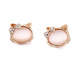 Animals Earrings Opal Kitten Cat Inlay Diamond Gilded Cute Earrings