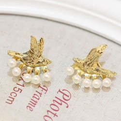 Fashion Bird Pearl Hanging Stud Earrings