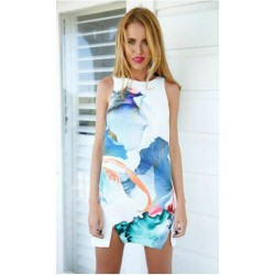 Simple Floral Printing Sleeveless Vest Dress