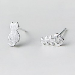 Cute Different Cat Fish Bone Kitty Mini Brushed Silver Girl's Animals Earring Studs