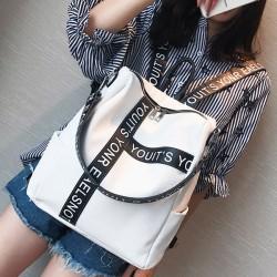 Unique Letters Black White Contrast Color Girl's Square Large Multi-function Shoulder Bag School Backpack