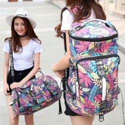 Leisure Drum Outdoor Canvas Rucksack Flower Leaves Multi-function Shoulder Bag Travel Large Backpack