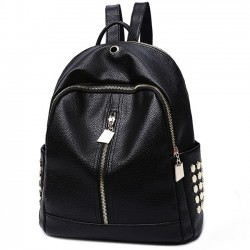 Punk Black PU Lichee Pattern Rivet Zipper School Headphone Hole School Backpack