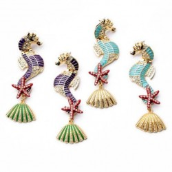 Retro Sea Horse Starfish Shell Ear Studs