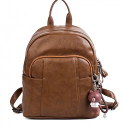 Retro British Style Women's Large PU College Leisure Student Backpack