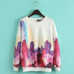 Casual Colorful City Building Pattern Long Sleeve O-neck Fashion Top