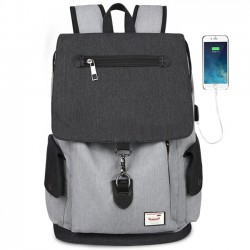 Unique Boy's Canvas Large Capacity Flap School Student Rucksack USB Interface Travel Backpack