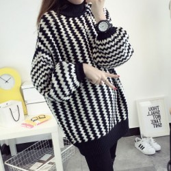 College Stripe Bishop Sleeve Turtle Neck Thick Loose Coat Sweater