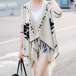 Folk Loosen Cardigan Sweater Cloak Fringed Irregular Knitwear Coat