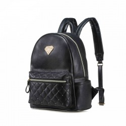 Diamond Grid Casual Simple Solid PU College Backpack School Bag