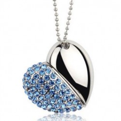 Modern Presents Personality Rhinestone Heart U Disk Pendant/Necklace
