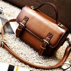 Retro Brown Glossy Flap Magnetic Metal Button Handbag PU Messenger Bag Shoulder Bag