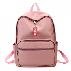 Leisure Chic Lichee Pattern Pink Large PU School Backpack