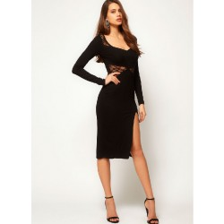 Lace Side Split Long Sleeve Black Dresses
