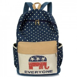 Leisure Elephant Star Dot School Girl's Laptop Bag Student Canvas Backpack
